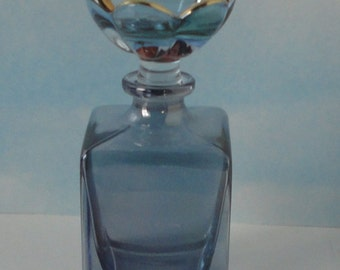Blue Crystal Perfume Bottle with Flower Stopper