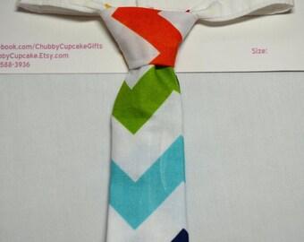 Little Man Necktie Orange Green Teal and Navy stripe baby boy tie Infant photo prop birthday