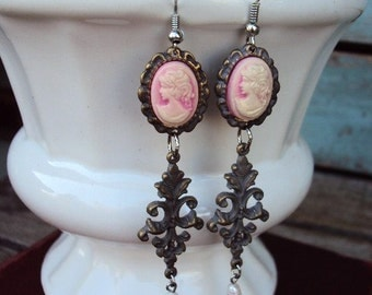 Vintage Style Cameo Earrings Silver and Gold Filigree Medallions Fresh Water Pearls Victorian STyle