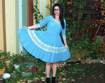 Vintage Patio Dress Mexican Turquoise Fiesta Day Dress Light Blue and Silver Summertime Party Dress S/M