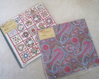 Vintage Gift Wrapping Paper Caspari Two Unopened Packages Quilt Design Paisley Design