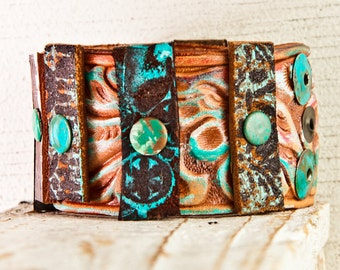 Leather Jewelry Handpainted Bracelets 2016 Cuffs Bohemian Hippie Gypsy Accessories