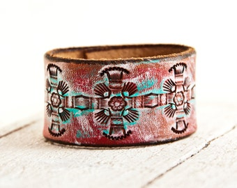 Leather Cuff - Hand Painted Jewelry - Leather Bracelet - Leather Wristband - Valentine's Day Gift