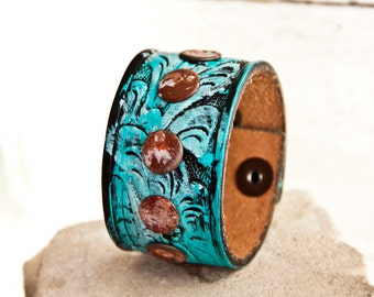 Turquoise Jewelry Handpainted Cuff Bracelets - Etsy Finds Southwest Tooled Embossed Stamped Leather