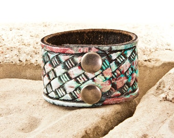 Colorful Bracelet - Bright Colors - Cuff Wrist Band Handmade From a Vintage Leather Belt