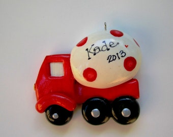 Personalized Cement Truck Christmas Ornament