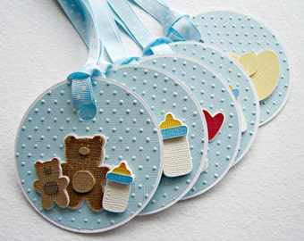 Set of Five Embossed Baby Boy Gift Tags