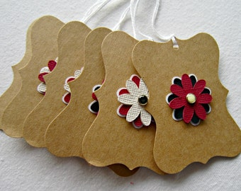 Set of Six Flower Gift Tags