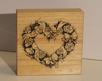 Roses and Ribbons Bows Wreath PSX Rubber Stamp