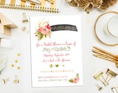 SALE. Digital Printable Watercolor and Gold Rose Bridal Shower Invitations & Recipe Card. Bridal. Party Invite. Bridal Shower. Wedding. Gold