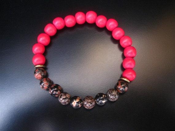 Red wood jasper bracelet mexican red snowflake jasper and red wood