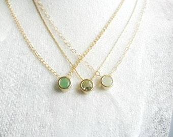 Peridot Simple Gold Necklace / August Birthstone Gift for her /  everyday simple jewelry / Layering minimal necklace gold filled necklace
