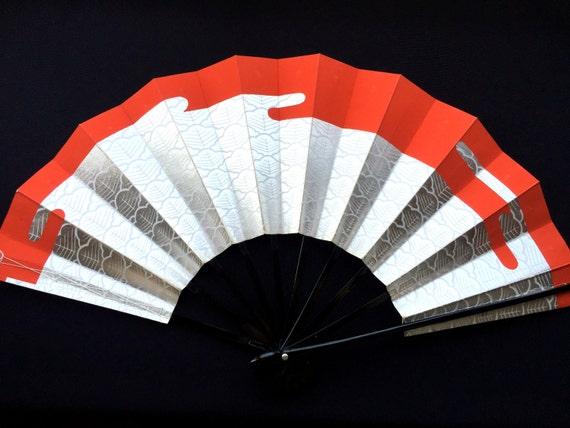 Japanese Dance Fan - Mai Ogi - Red Silver Fan - Sensu - Vintage Fan - Paper Fan - Hand Fan (F226)