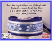 "Jan's Martingales, Blue Collar Leash Combination Walking Lead,  Italian Greyhound, Small Dog Size 9 1/2 "" Collar Section Iblu080"
