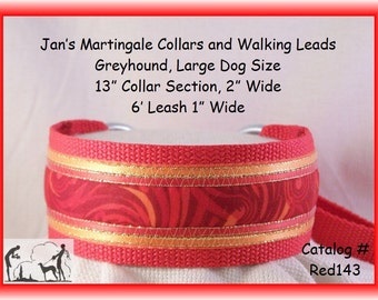 Jan's Martingales, Red Walking Lead, Collar and Lead Combination, Greyhound, Large Dog Size, Red143