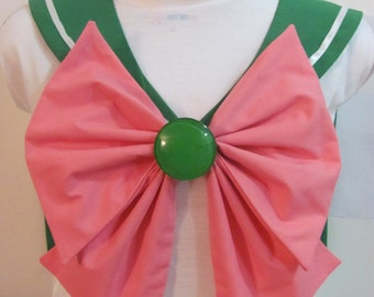 Green Collar, Pink Bow and Green Brooch Sailor Scout Jupiter Cosplay Costume
