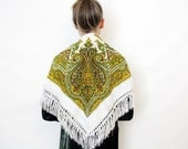 Vintage paisley fringe scarf