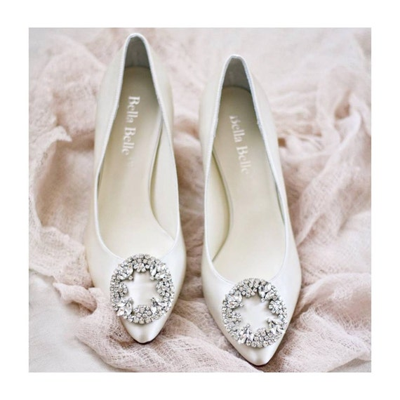 Wedding Shoes Low Heels With Vintage Oval By BellaBelleShoe