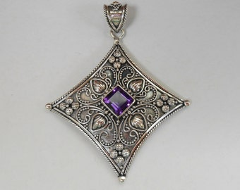 Balinese Sterling Silver Amethyst gem pendant / silver 925 / Bali handmade jewelry / 2 inches