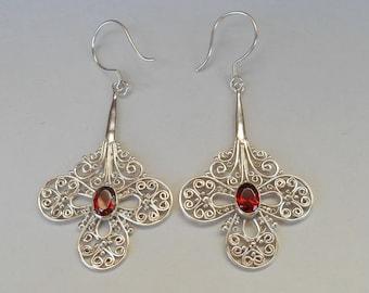 Balinese Sterling Silver Garnet gems dangle Earrings / 2.35  inches long / silver 925