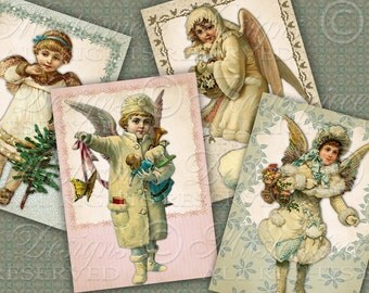 Victorian Angels / Hang Tags / Gift Tags / Christmas - Printable Tags, Instant Download and Print Digital Sheet