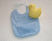Ready to Ship. Blue Gingham Baby Bib with yellow chick.