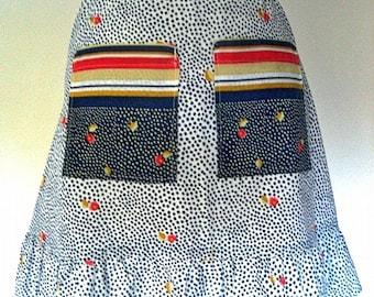Apron Vintage Kitchen Skirt Cover Pinafore Blue Polka Dot Cotton Colored Pockets