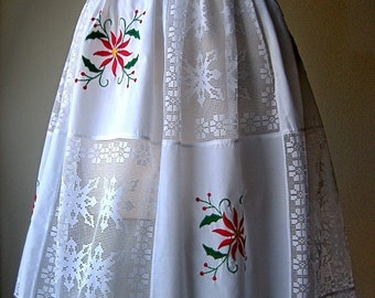 Apron Vintage Kitchen Skirt Cover Pinafore Cotton Christmas Holiday Embroidery