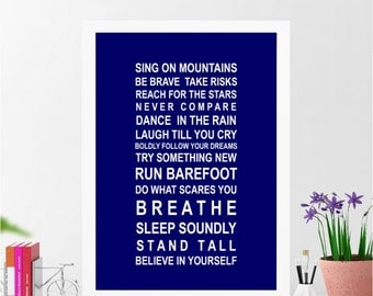 Sing on Mountains - Bus Roll Typography Poster print