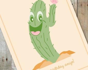 Happy Birthday Amigo Cactus Card