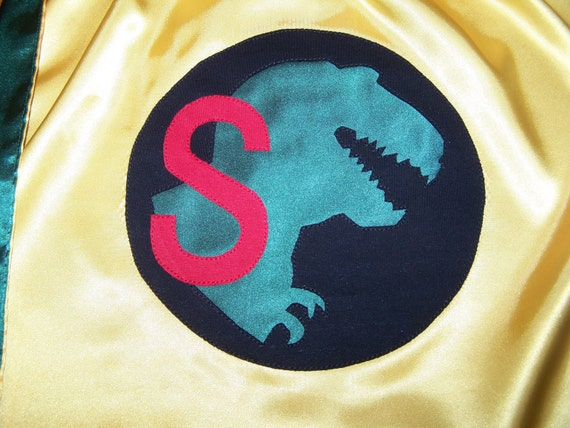 Dinosaur T Rex Superhero Cape Washable Satin Initial or Name Personalized