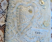 WHITE shabby heart art quilt collage journal vtg fabric notebook blank book ephemera upcycle