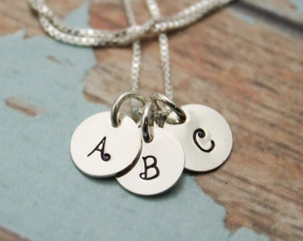 Three (3) Tiny Initial Sterling Silver Necklace Personalized Hand Stamped Jewelry