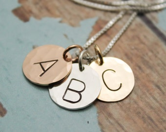 Three (3) Initials Simple and Sweet Monogram Necklace Hand Stamped Jewelry Sterling Silver, Rose Gold Filled , Gold Filled