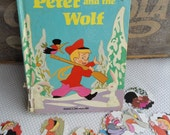 Scalloped Round Die Cuts Peter and the Wolf From Vintage Walt Disney Children's Book