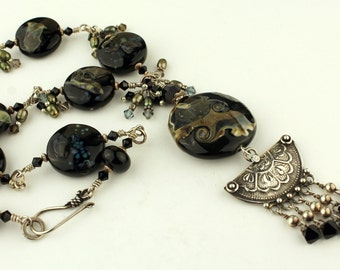 Lampwork Necklace Sterling Silver Chunky Organic Black Glass Beads Beaded Jewelry 'Under the Stars'