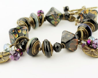 Black Lampwork Bracelet with Antique Brass Bronze Purple Blue Crystals Beaded Jewelry 'Arioso'