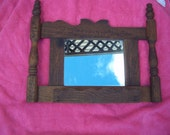 "Vintage Wooden hand - made oak wood framed mirror, 17"" x 14"" - wall hanging - craftsman style - vintage great patina"