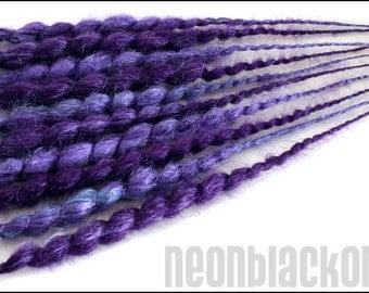 Single ended dread extensions - purple lilac aqua dreads -  set of 10