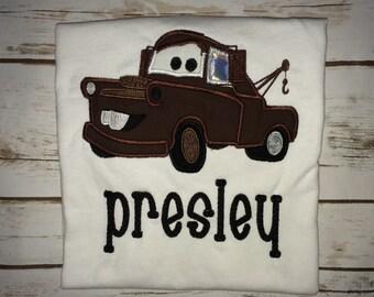 Tow Mater shirt with name Disney Cars