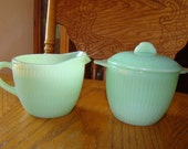 Fire King Jadeite Jane Ray Sugar Bowl & Creamer