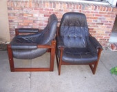 Pair Percival Lafer Sling Chairs W Matching Ottoman