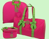 Personalized Garment Bag Duffle Bag And Cosmetic Train Case In Hot Pink with Hot Pink And Lime Polka Dot Trim
