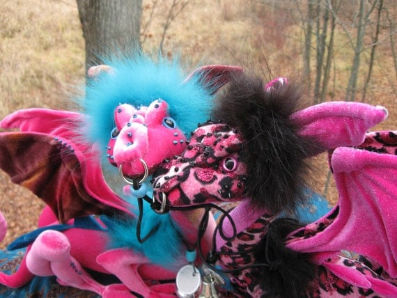 Reserved for Teresa - Do not purchase unless you are she! Sunrise & Rosie, pink Reiver dragons by Dragontry