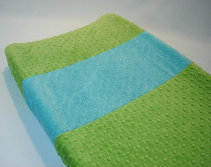 Jade Green Changing Pad Cover with Stripe