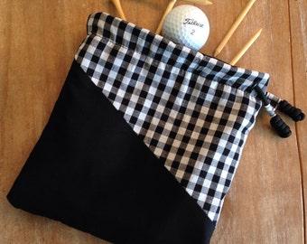 Golf - Black & White Gingham - cinch-top essentials pouch