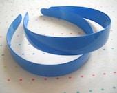 Extra Wide Azure Blue Plastic Headbands (2)