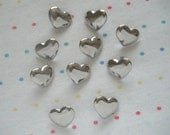 Silver Heart Shaped Shank Buttons, Shiny Reflective Buttons (10)
