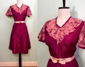 ON SALE Vintage 1960's Magenta Party Dress with Pink Lace Ruffle and Flutter Sleeve Size Small
