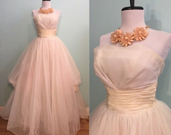 ON SALE Vintage 1950's White Tulle Prom/Wedding Dress Size Extra Small
